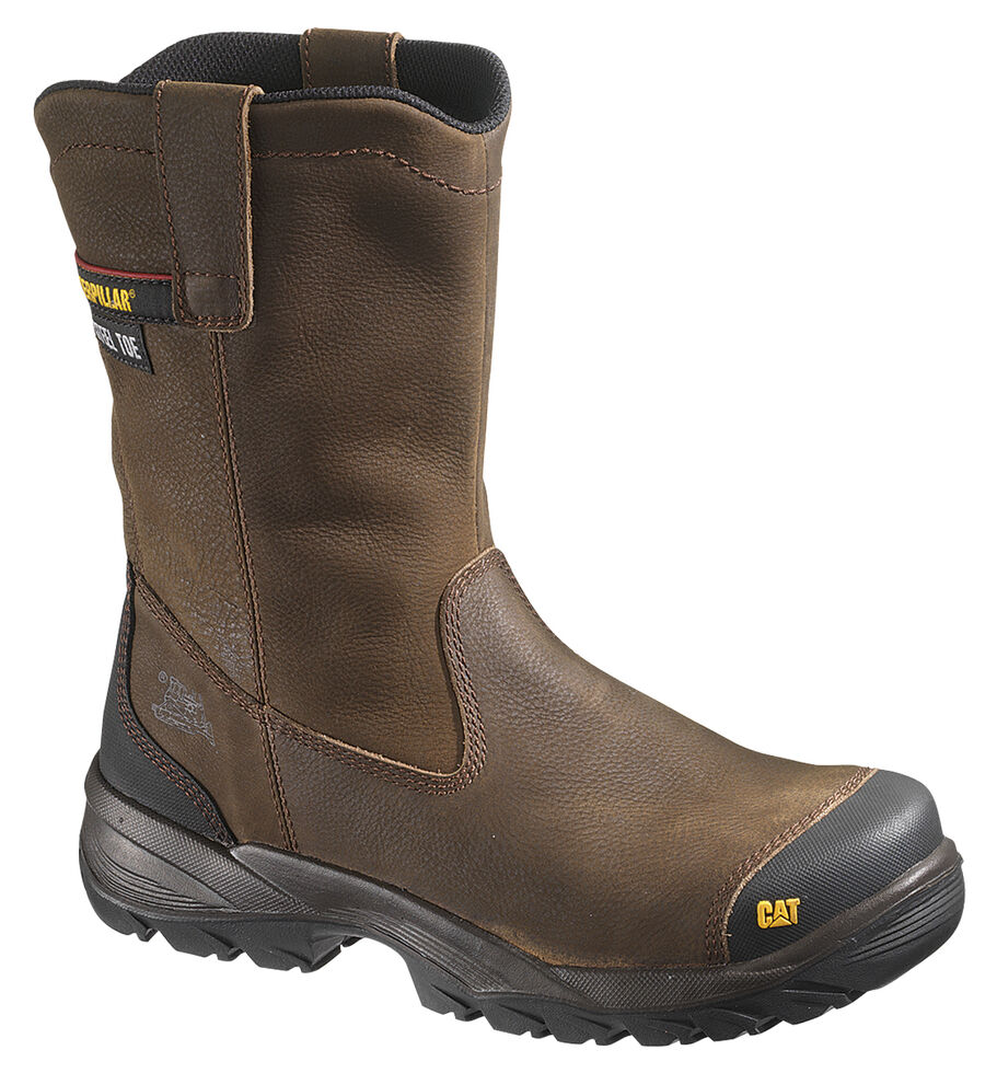 Caterpillar Spur Wellington Boots - Steel Toe, Brown, hi-res