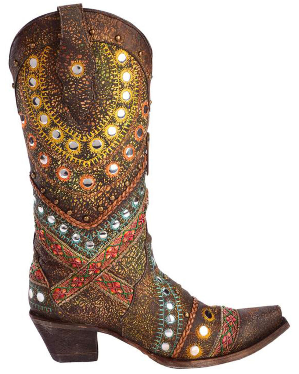 Corral Women's Studded & Embroidered Cowgirl Boots - Snip Toe, Brown, hi-res
