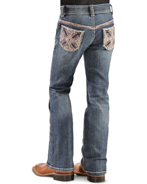 Grace in L.A. Girls' Colorful Stitch Bootcut Jeans - 4-6X, Denim, hi-res