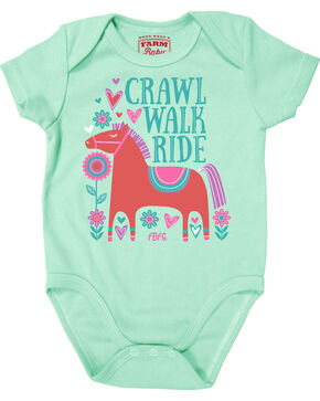 Farm Girl Infant Girls' Crawl Walk Ride Creeper, Teal, hi-res