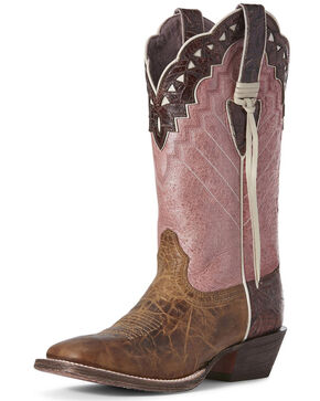Ariat Women's Ember Buckskin Western Boots - Wide Square Toe, Brown, hi-res