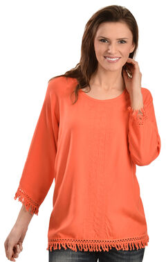 Red Ranch Women's Challis Embroidered Fringe Top, Coral, hi-res