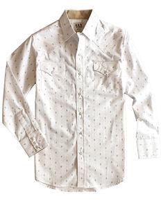 Ely Walker Men's White Aztec Geo Print Long Sleeve Western Shirt - Tall, White, hi-res