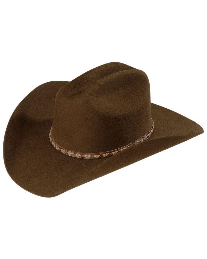 Justin Men's Plains 2X Wool Felt Cowboy Hat, Brown, hi-res