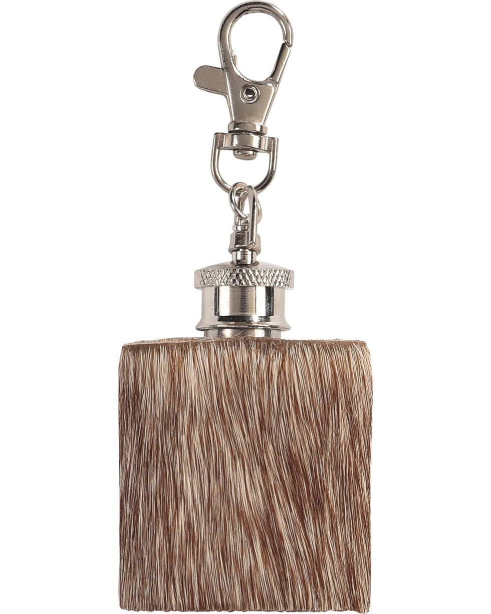 BB Ranch Cowhide Flask Keychain, No Color, hi-res