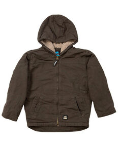 Berne Boys' Washed Sherpa-Lined Hooded Jacket, Olive Green, hi-res