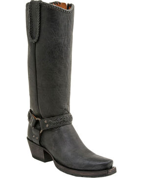 Lucchese Women's Harness Lug Boots - Square Toe, Black, hi-res