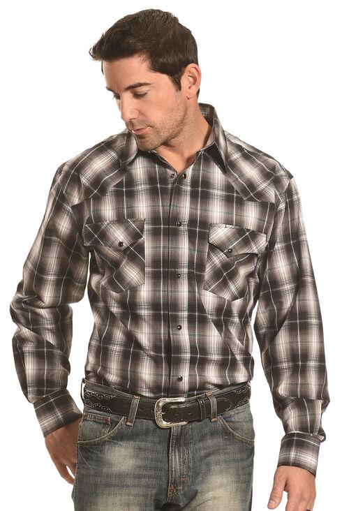 Crazy Cowboy Men's Black Plaid Western Snap Shirt , Black, hi-res