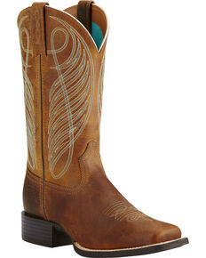 0bd42bb9ddf Ariat Womens Round Up Cowgirl Boots - Square Toe, Brown, hi-res