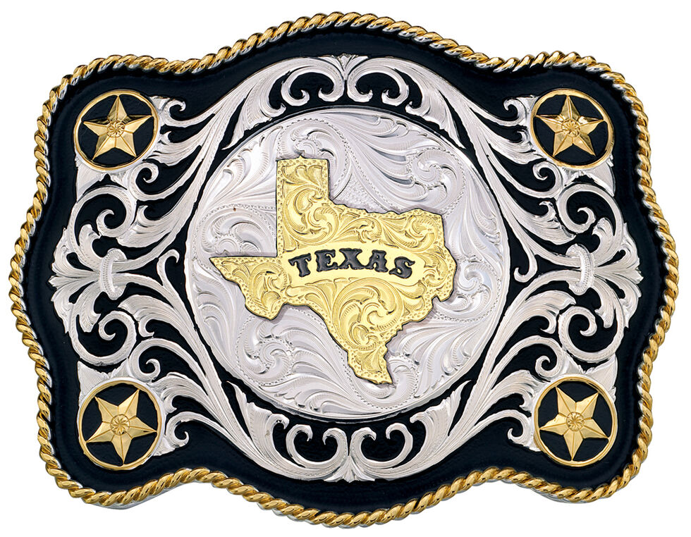 Montana Silversmiths Sheridan Style Texas State Western Belt Buckle, Multi, hi-res