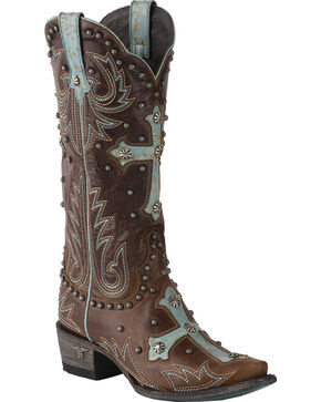Lane Women's Guided Grace Studded Cross Cowgirl Boots - Snip Toe, Brown, hi-res