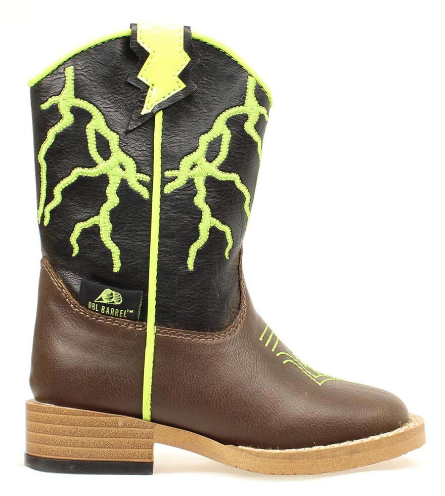 Double Barrel Toddler Boys' Ace Lightning Bolt Cowboy Boots - Round Toe, Brown, hi-res