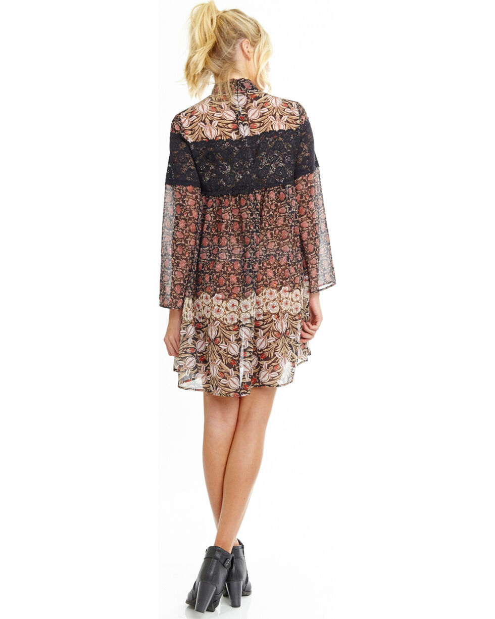 Mary & Mabel Women's Contrast Floral Dress, , hi-res