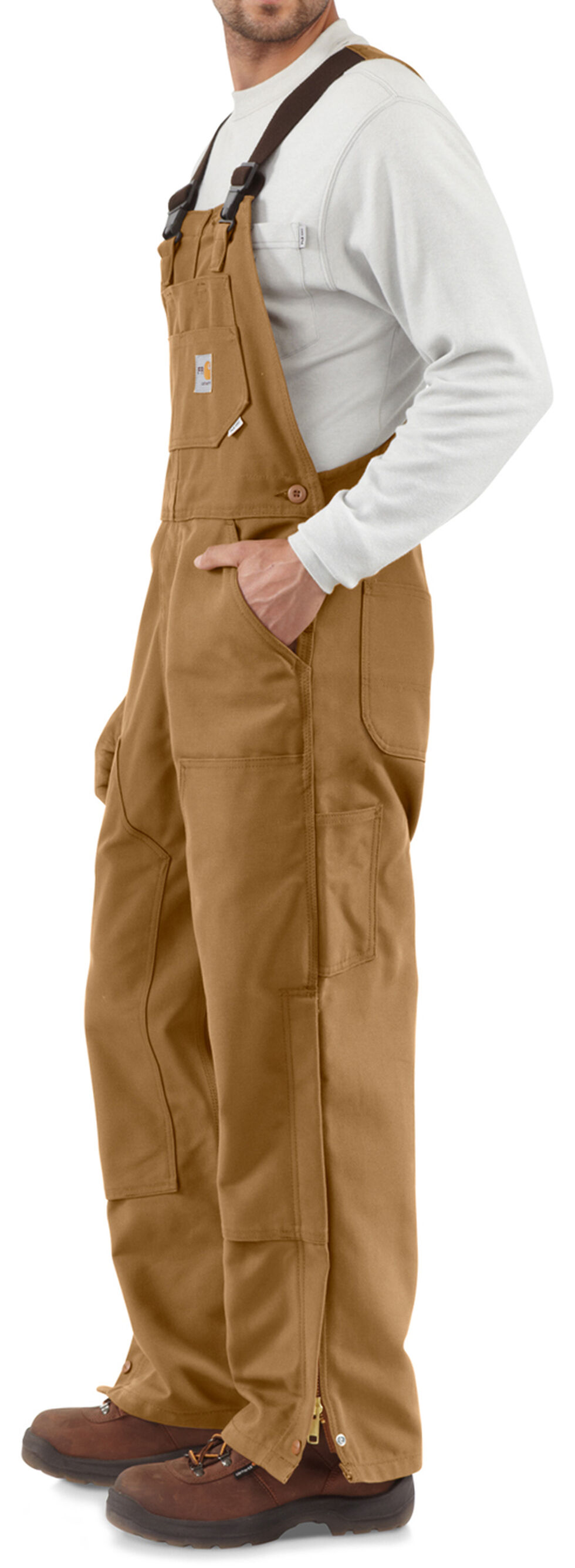 Carhartt Men's Flame-Resistant Duck Bib Overalls - Big & Tall, Carhartt Brown, hi-res