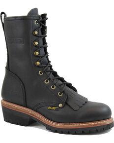 """Ad Tec Men's 10"""" Fireman Logger Boots - Round Toe, Black, hi-res"""
