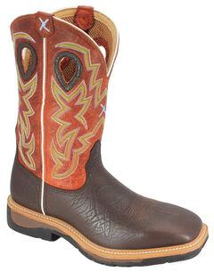 Twisted X Orange Lite Cowboy Work Boots - Steel Toe, Brown, hi-res