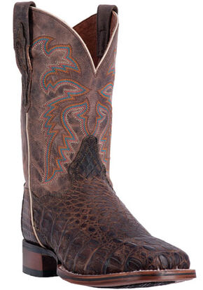 Dan Post Men's Brown Denver Caiman Cowboy Boots - Broad Square Toe, Brown, hi-res