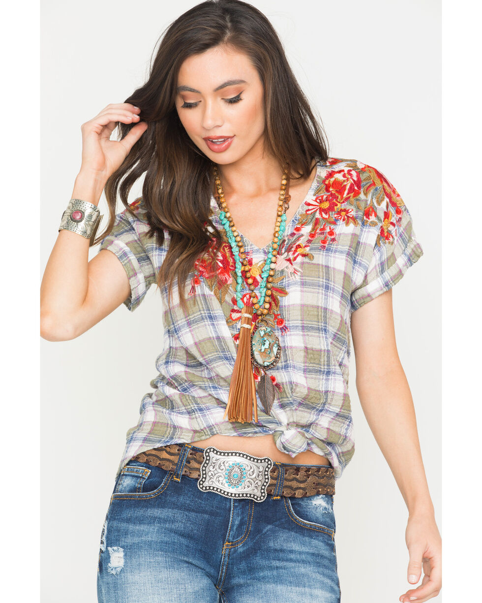 Johnny Was Women's Corfu Plaid Austine Pull On Tee, Multi, hi-res