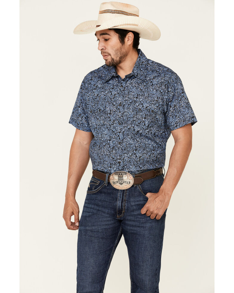 Rock & Roll Denim Men's Blue Paisley Print Short Sleeve Western Shirt , Blue, hi-res