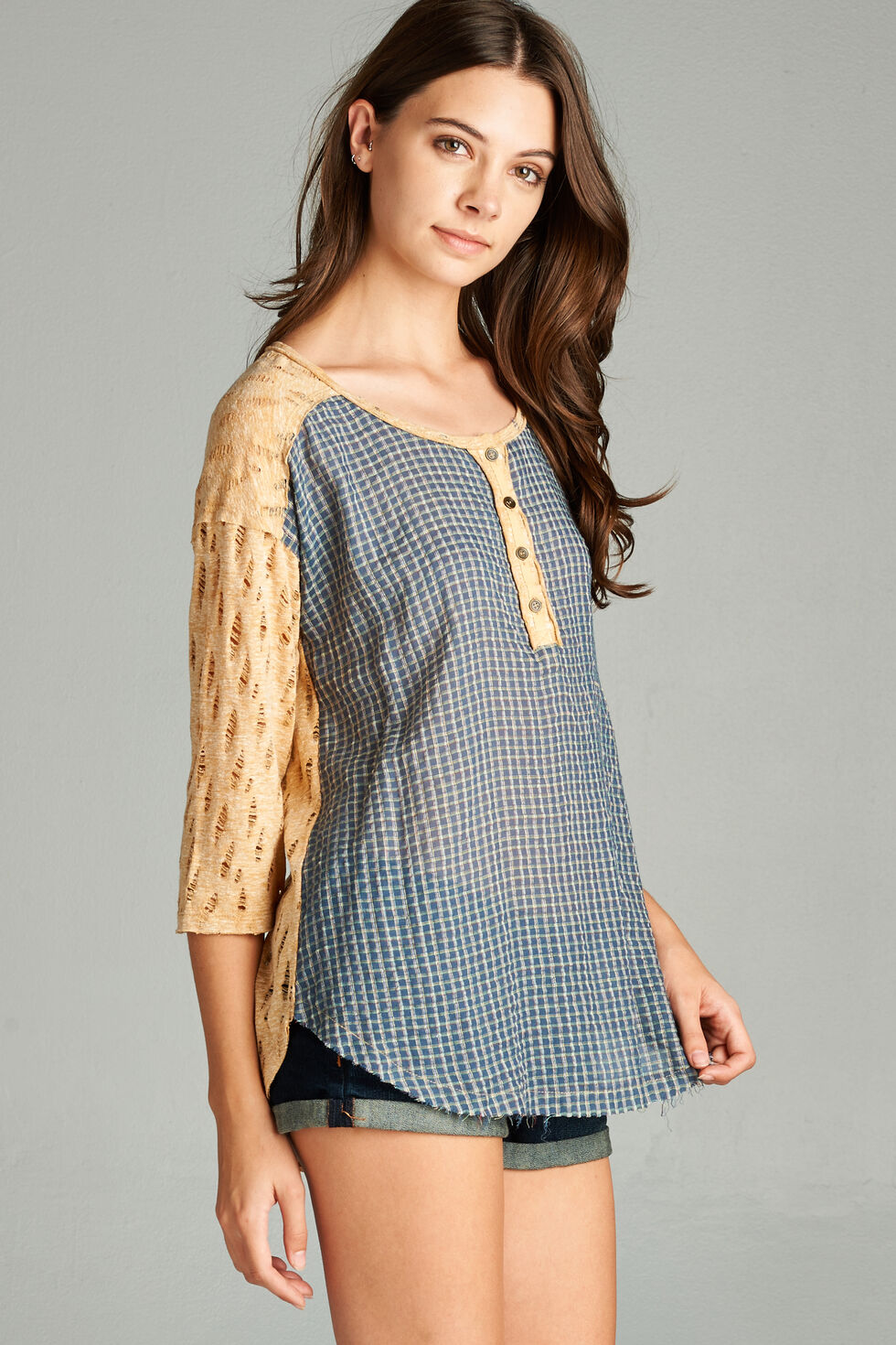 Hyku Women's Navy Woven Front Henly Top, Navy, hi-res