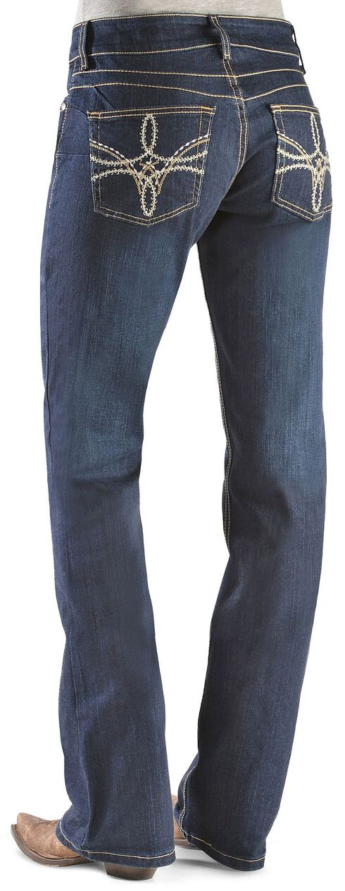 Wrangler Booty Up Swirl Embroidery Pocket Bootcut Jeans, Denim, hi-res