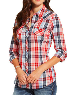 Ariat Women's Eagle Plaid Long Sleeve Western Shirt , Multi, hi-res