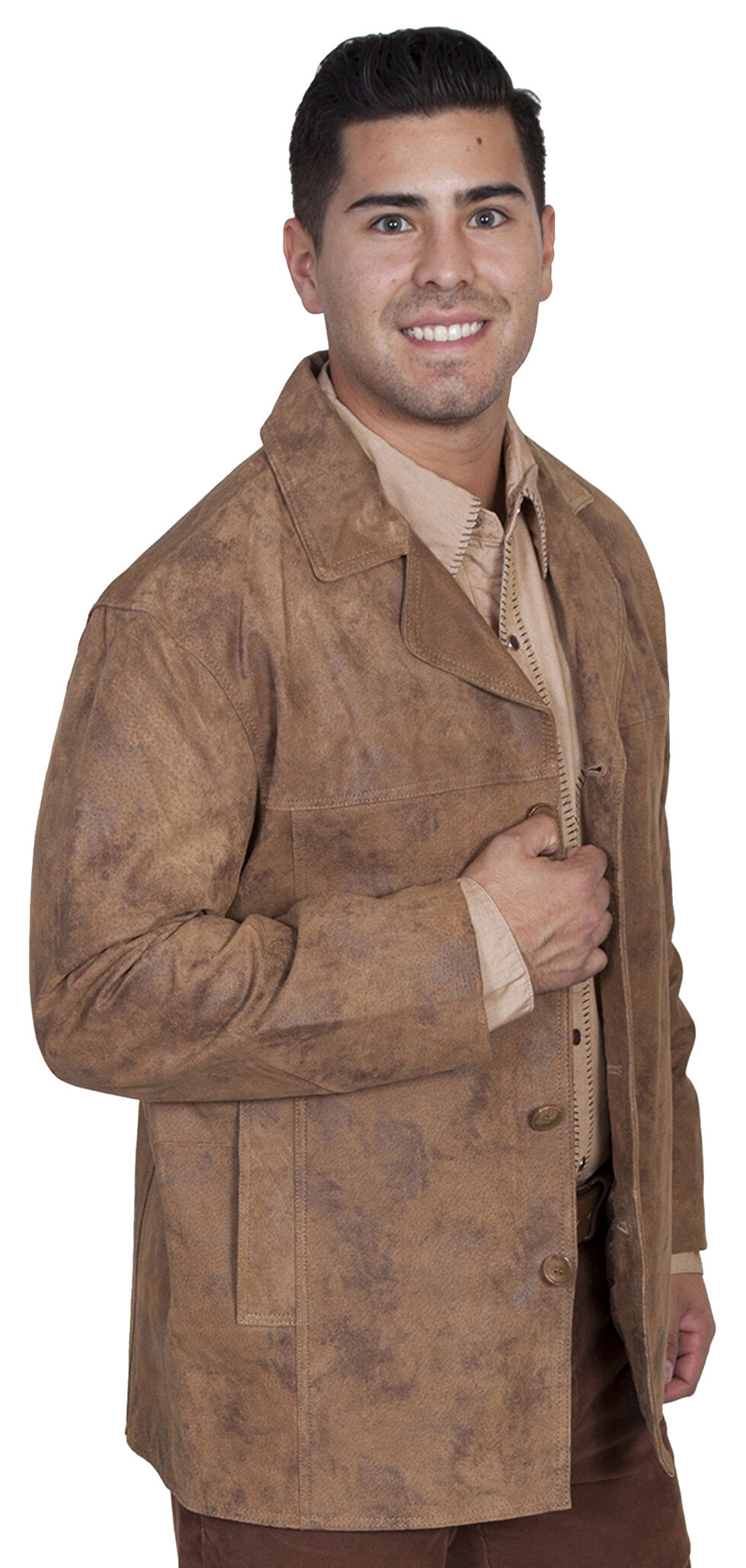 Scully Suede Leather Coat, Maple, hi-res