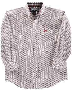 Panhandle Boys' White Geo Print Long Sleeve Western Shirt , Burgundy, hi-res