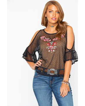 Shyanne Women's Swiss Dot Embroidered Mesh Top , Burgundy, hi-res