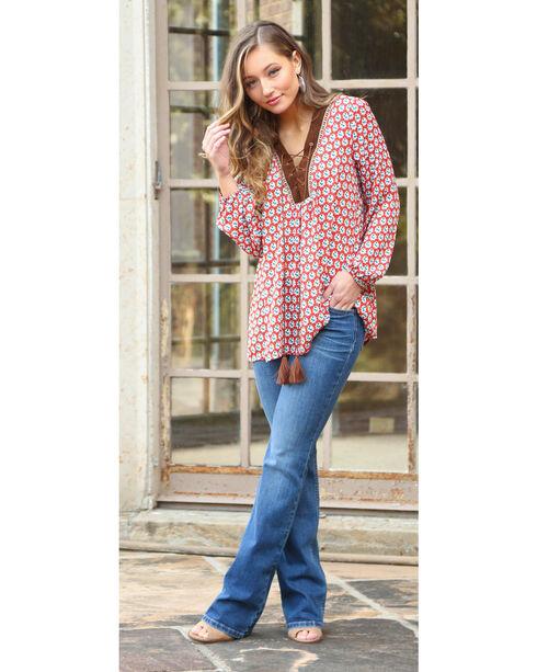 Wrangler Women's Long Sleeve Lace Front Tunic, Multi, hi-res