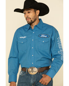 Wrangler Men's Blue Geo Print Ford Logo Long Sleeve Western Shirt , Blue, hi-res