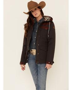 Cinch Women's Charcoal Color-Block Hooded Storm Flap Barn Coat , Charcoal, hi-res