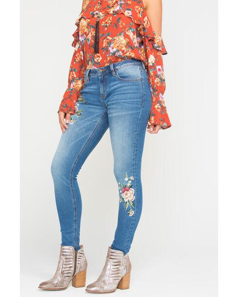 Miss Me Women's Indigo Floral & Bird Embroidered Jeans - Skinny , Indigo, hi-res