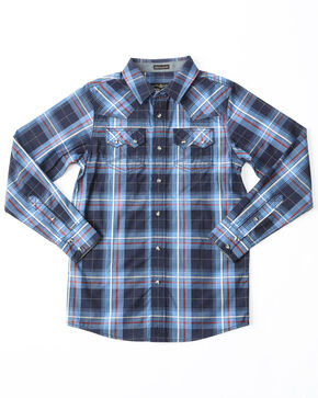 Cody James Boys' Campus Plaid Woven Long Sleeve Western Shirt , Navy, hi-res