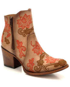 Corral Women's Camel Floral Embroidery Booties - Round Toe , Camel, hi-res