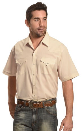 Ely Cattleman Men's Short Sleeve Solid Western Shirt - Big and Tall , Khaki, hi-res