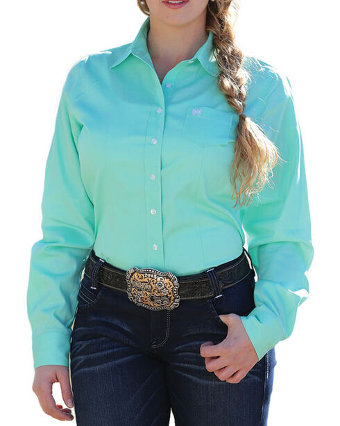 Cinch Women's Solid Green Button Down Western Shirt, Green, hi-res
