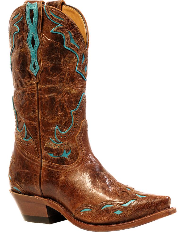 Boulet Women's Puma Madera West Turqueza Inlay Western Boots - Snip Toe, Brown, hi-res