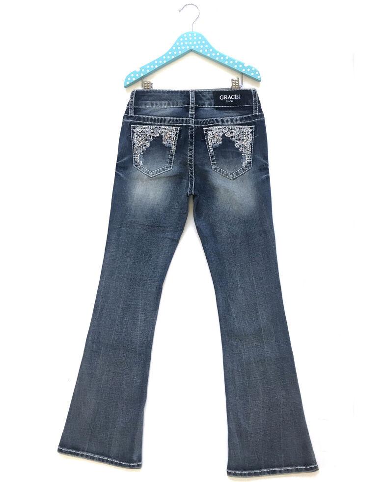 Grace In LA Girls' Medium Wash Multi Sparkle Embellished Pocket Distressed Bootcut Jeans , Blue, hi-res