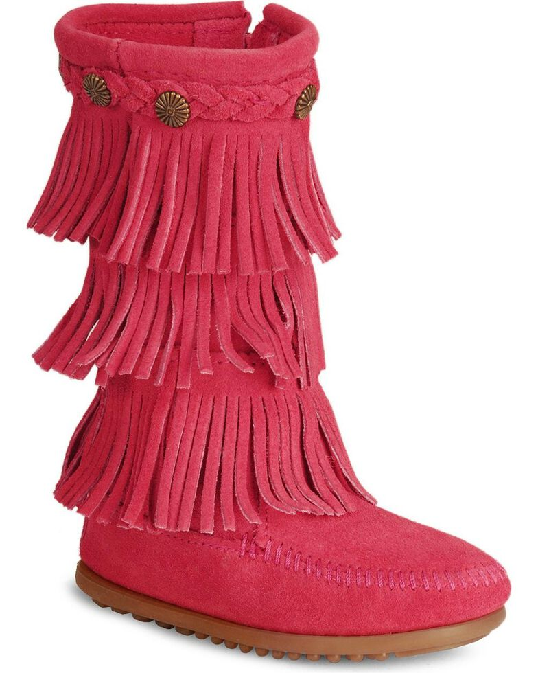 Minnetonka Girls' Fringed Suede Boots, Hot Pink, hi-res