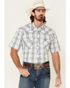Cowboy Hardware Men's Campfire Large Plaid Short Sleeve Snap Western Shirt, White, hi-res