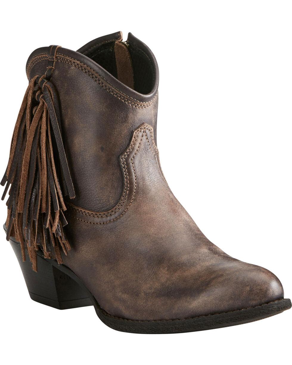 Ariat Women's Chocolate Duchess Braided Fringe Short Western Boots - Medium Toe, Chocolate, hi-res