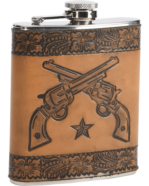BB Ranch Embossed Leather Pistol Flask, No Color, hi-res