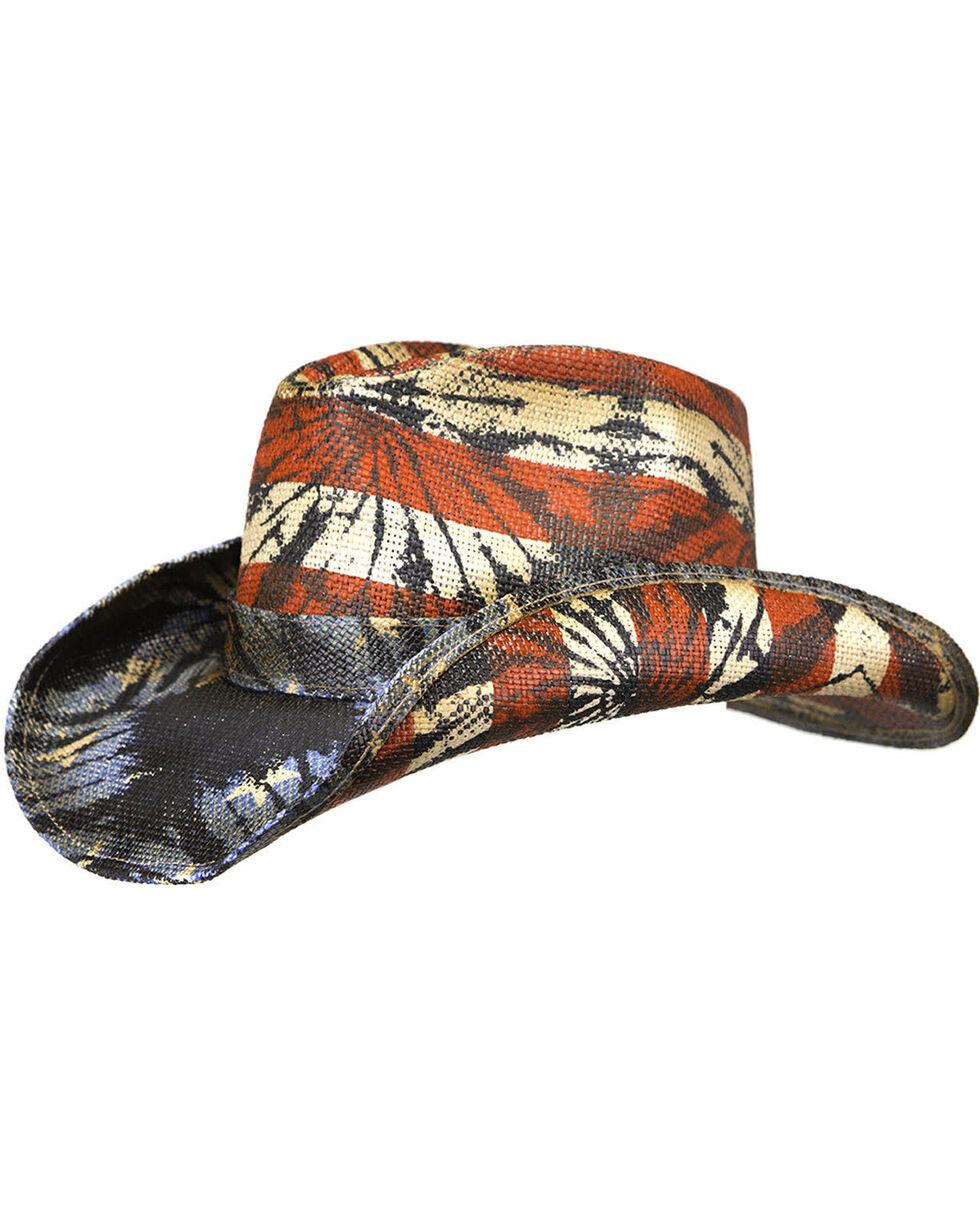 Peter Grimm Men's Americana Tie-Dye Straw Hat, Red/white/blue, hi-res
