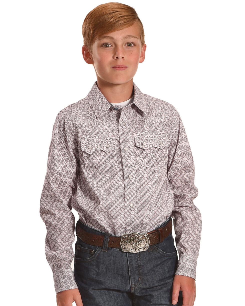 Cody James Boys' Cliff Geo Printed Long Sleeve Shirt, Red, hi-res