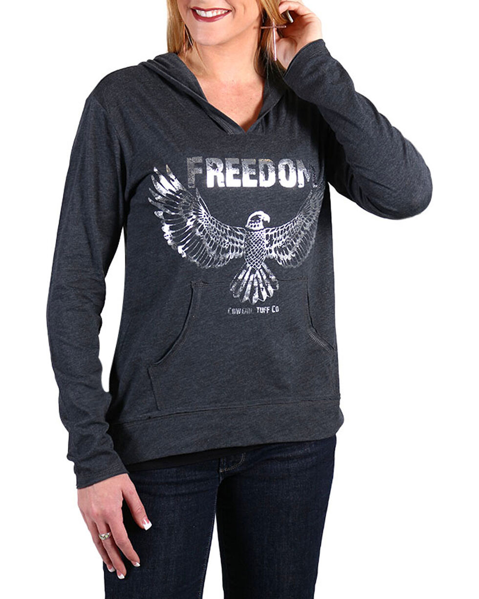 Cowgirl Tuff Women's Grey Freedom Long Sleeve Hoodie , , hi-res