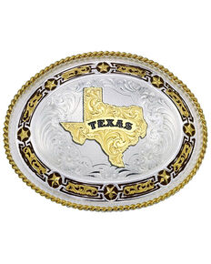 Montana Silversmiths Star Links State of Texas Western Belt Buckle, Multi, hi-res
