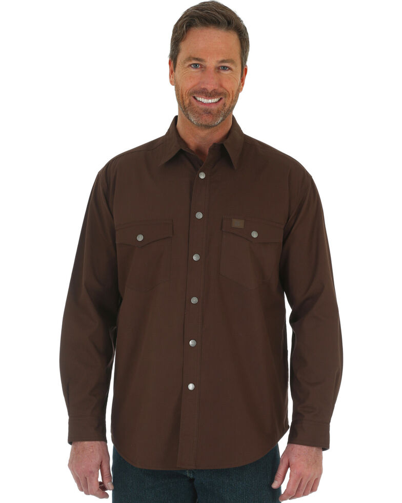 e5e58e47 Zoomed Image Wrangler Men's Navy Riggs Workwear Flannel Lined Ripstop Shirt  Jacket, Chocolate, hi-res