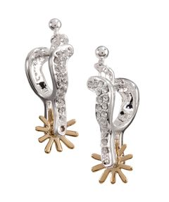 Montana Silversmiths Sparkly Spur Earrings, Silver, hi-res