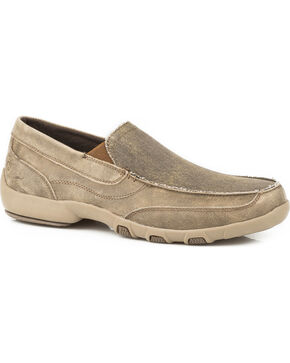 Roper Men's Charlie Canvas Leather Driving Mocs - Moc Toe, Tan, hi-res